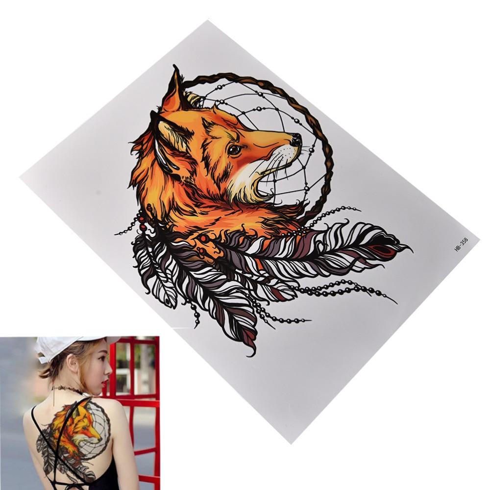 Tribal Wolf Dreamcatcher Temporayr Tattoos Waterproof Flash Fox Tattoo Body Art For Men Women Fake Tattoo Stickers