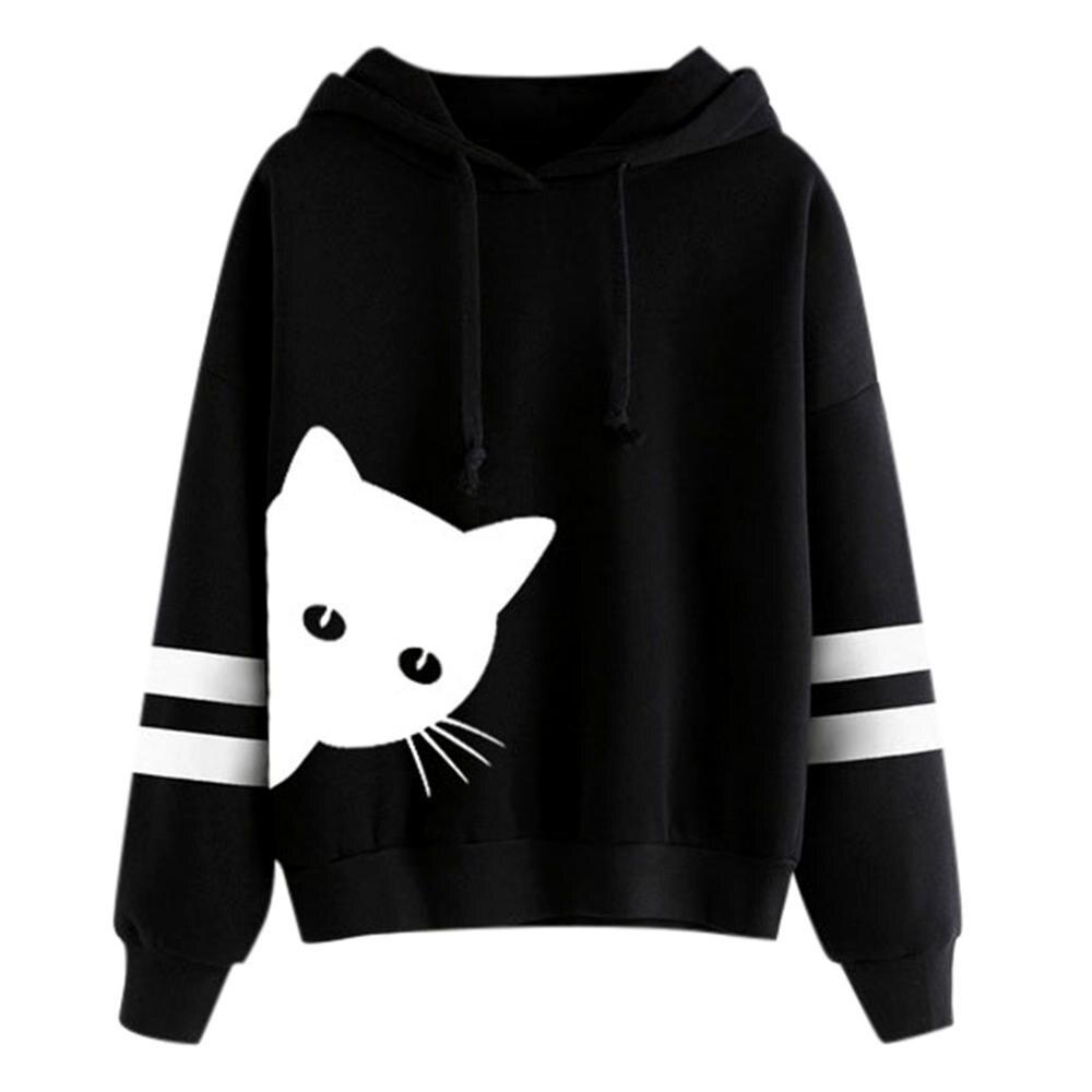 Womens Cat Print Long Sleeve Hoodie Sweatshirt Hooded Pullover Tops Blouse