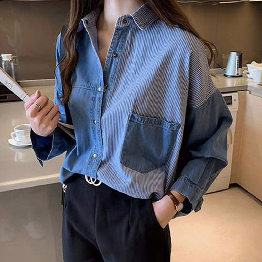 Patchwork Denim Cloth Blouse Women 2020 Spring Summer Long Sleeve Striped Blue Jeans Shirts Chic Female Tops Preppy Style S-XL