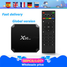 50PSC/LOT x96 mini أندرويد 9.0 مربع التلفزيون الذكية 2.4G واي فاي S905W رباعية النواة 4K 1080P كامل HD لاعب 64 بت X96mini فك التشفير