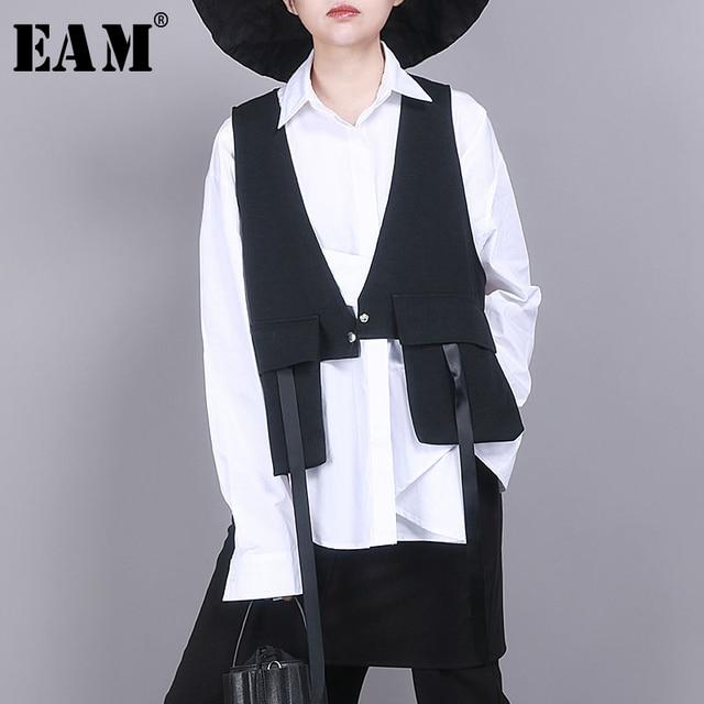 [EAM] Women Black Asymmetrical Split Joint Loose Fit Vest New V-collar Sleeveless   Fashion Tide Spring Autumn 2021 1R854 1