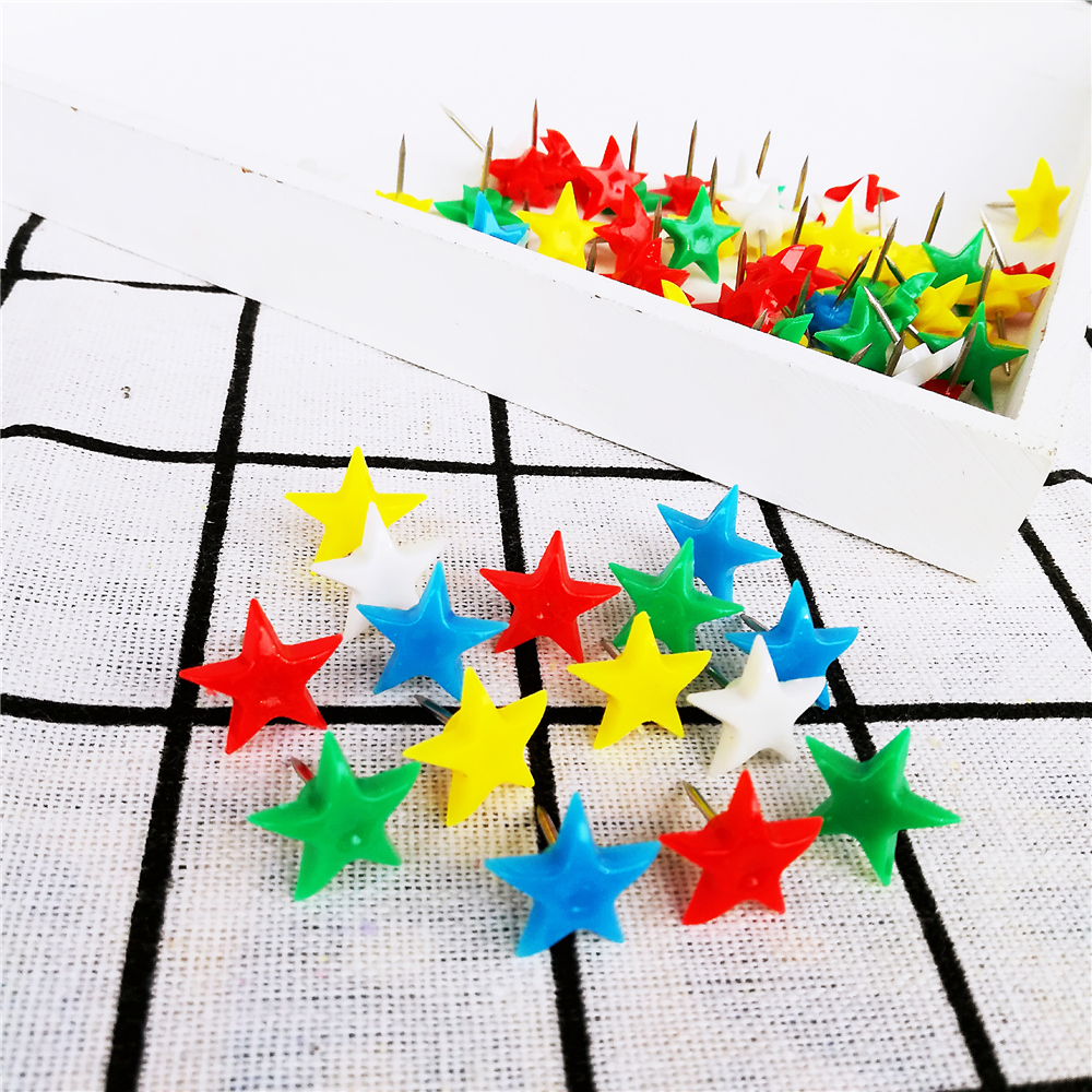 30pcs Push Pins Star Shaped Thumbtack Notice Board Tacks For Office School Mixed Color Map Pin