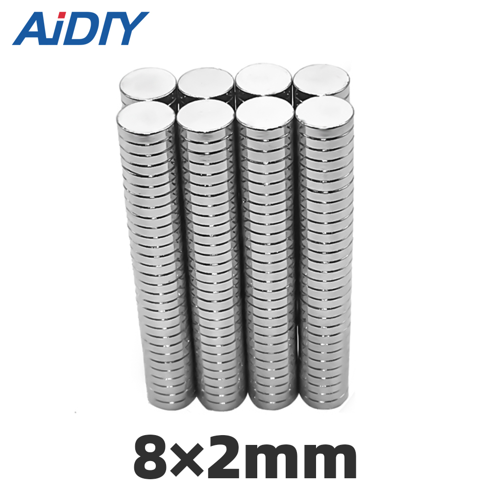 AIDIY 10/30/100Pcs 8mm x 2mm N35 Super Strong Round Powerful Neodymium Magnets Rare Earth For Crafts Disc 8 *