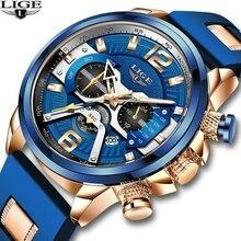 Часы наручные lige мужские с хронографом модные спортивные брендовые