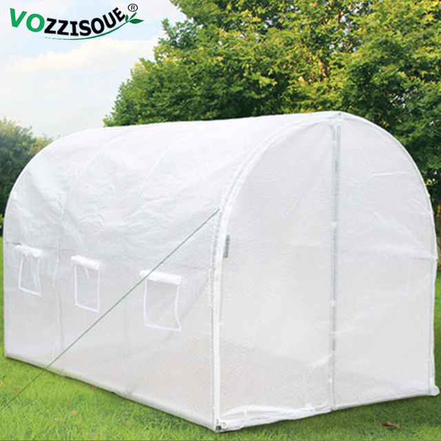 Large Greenhouse Warm Garden Grow Room Iron Stand Garden Shed with Plastic Greenhouse Covers Plant Winter Protection Grow House