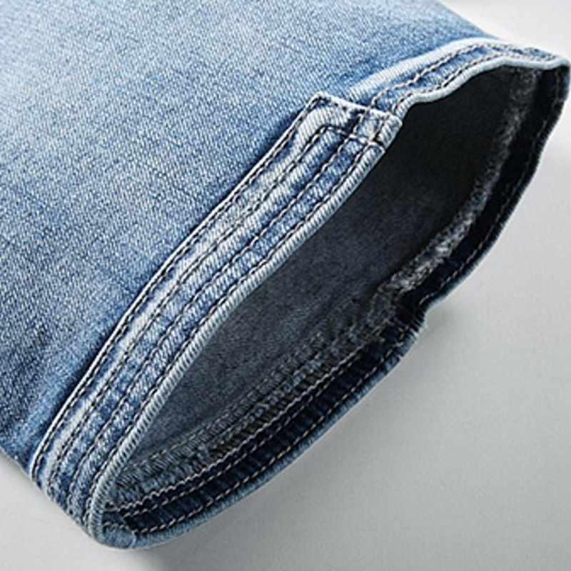 Verão azul fino multi bolso bezerro-comprimento magro denim shorts moda casual tamanho grande calças de brim curtas masculino trabalho carga 2020 novo