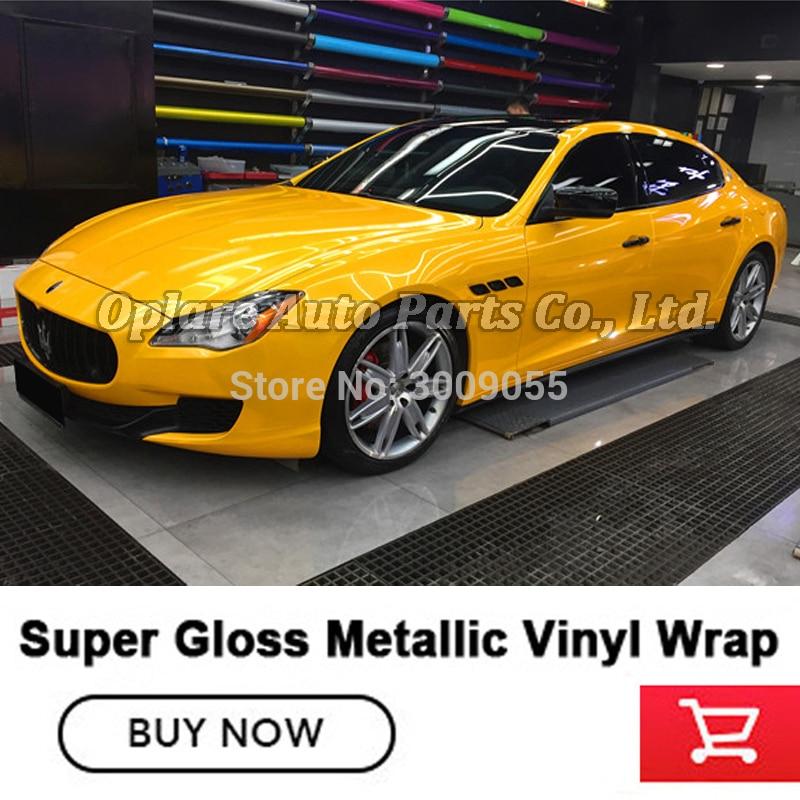 Premium Quality Top Super Glossy Metallic Vinyl Wrap Yellow Vinyl Imported Glue Car Wrap Vinyl  Yellow 1.52m*18m/roll