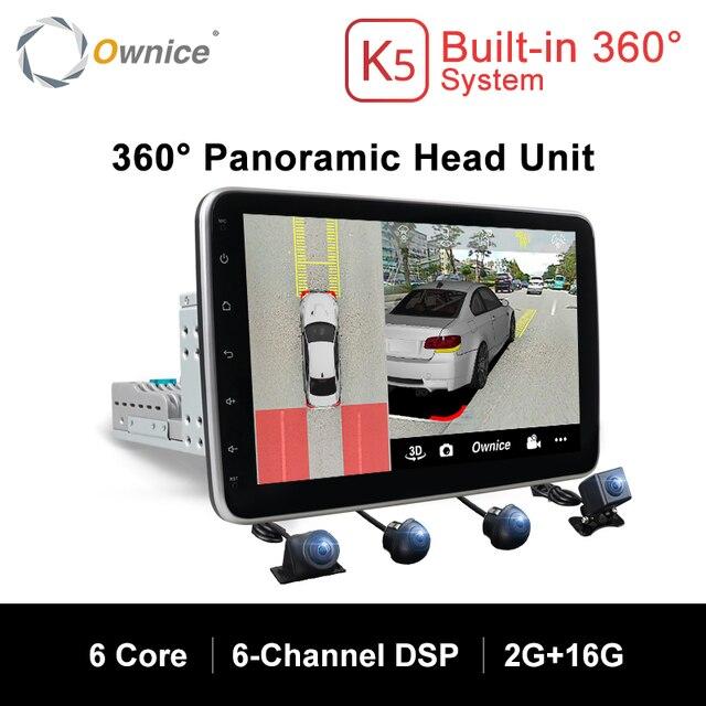 Ownice K5 dönebilen 1 din 2din 10.1 araba radyo evrensel DVD OYNATICI GPS navi DSP 360 Panorama SPDIF amplifikatörler optik yörünge