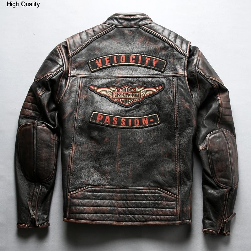 2020 Men's Vintage Stylish Motorcycle Leather Jacket Brand Cow Leather Moto Biker Jacket Men Slim Fit Real Leather Coat Male