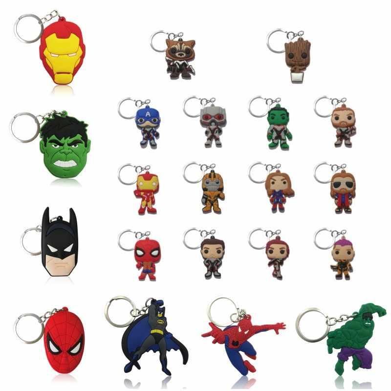 1 Uds. Vengador llavero superhéroe PVC llavero chulas llavero Iron Man Spiderman Batman llavero niños regalo fiesta Favor