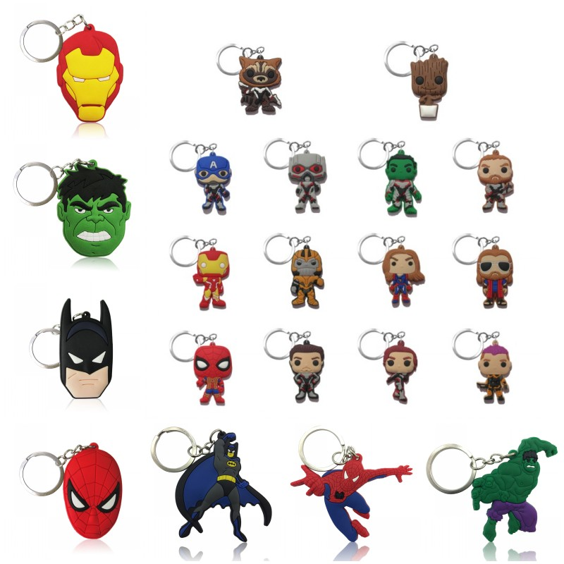 1pcs Avenger Keychain Superhero PVC Key Ring Cool Trinkets Key Chain Iron Man Spiderman Batman Key Holder Kids Gift Party Favor