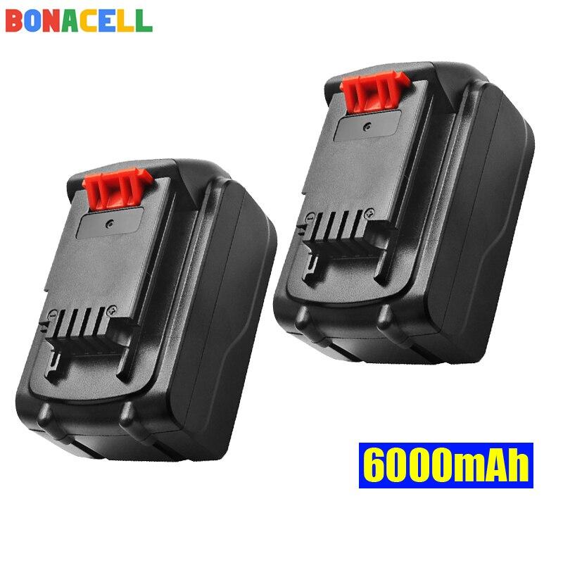 Bonacell 18V/20V 6000mAh Li-ion Rechargeable Battery Power Tool Replacement for BLACK & DECKER LB20 LBX20 LBXR20