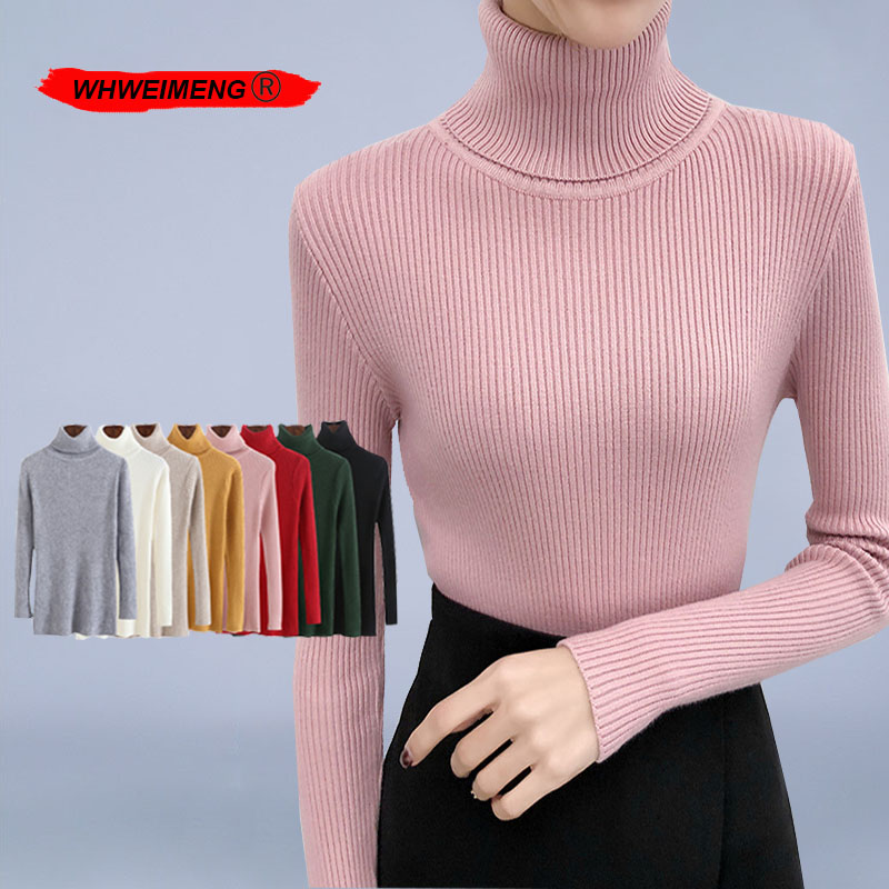 Pink Sweater Women 2020 Winter Turtleneck Knitted Sweaters  Pull Femme Fashion Casual Soft Korean Style High Neck Pullover Kazak