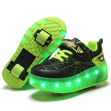 Kids Glowing LED Wheels Shoes for Boys with Lights USB Charged Children Shoes on Wheels Baby Luminous Roller Skate Shoes