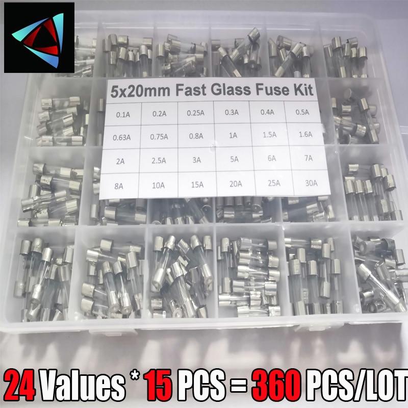 360Pcs/Box 24Values 5x20mm Fast Glass Fuse Kit In Package 0.2A 0.5A 1A 2A 3A 5A 6A 8A 10A 15A /250V 5*20 Insurance Tube Package