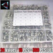 360 Valores 24 Pçs/caixa 5x20mm Rápido Kit Fusível De Vidro No Pacote 0.2A 0.5A 1A 2A 3A 5A 6A 8A 10A 15A /250V 5*20 Pacote Tubo De Seguros
