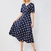 Женское шелковое платье в горошек темно синее Повседневное с