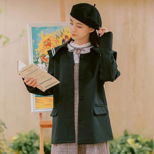 2019 Korean Blazer Elegant Women Vintage Blazers Preppy Style Loose Splice Pockets Button Women Coats Female White Black Blazers 2