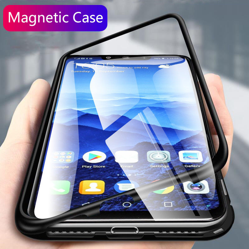 Funda de adsorción magnética metálica para Huawei P20 P30 Pro Mate 20 Honor 20 10 lite 8X funda en Nova 3 Y6 Y7 Y9 P smart Z 2019 fundas