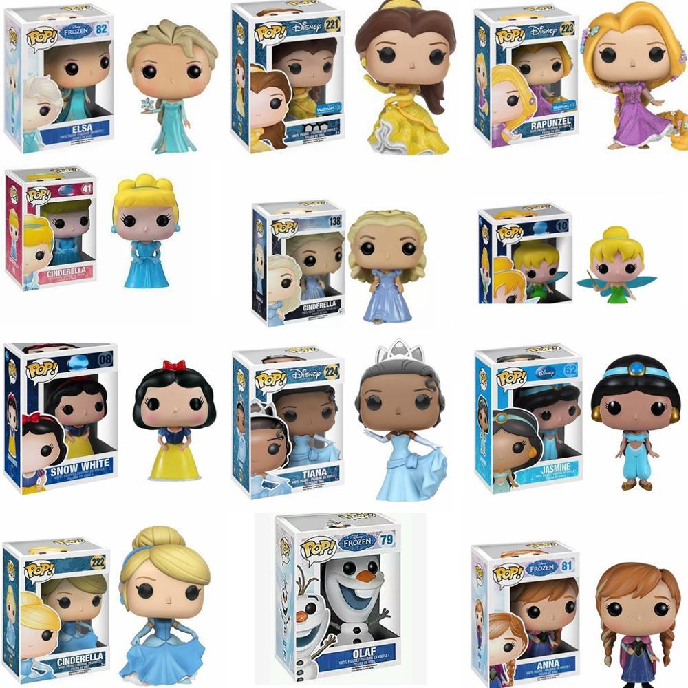 Funko pop figura de ação modelo princesa ariel rapunzel cinderela tiana pvc brinquedos coleção presente para meninas