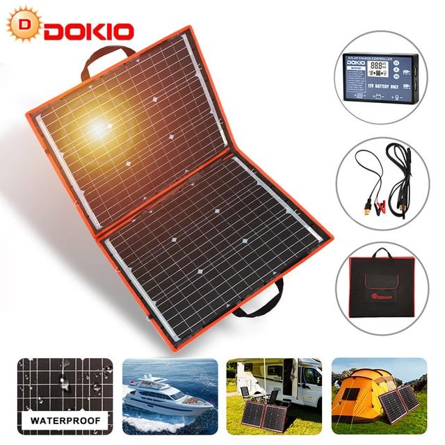 Dokio 18V 80W High Power Monocrystalline Flexible Faltbare photovoltaic Panel Reise & cell Telefon & camping portable solarzelle board + 12V USB controller Kit