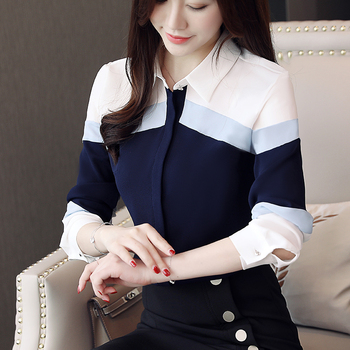 Womens Tops 2020 Blusas Chiffon Blouses Shirts Elegant Long Sleeve Ladies Button Spliced Striped Office Lady 631G