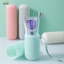Travel portable couple toothbrush box mouth brushing tooth cup creative plastic toothpaste toothbrush storage box portable tooth mug towel toothbrush toothpaste storage bottle holder w strap pink