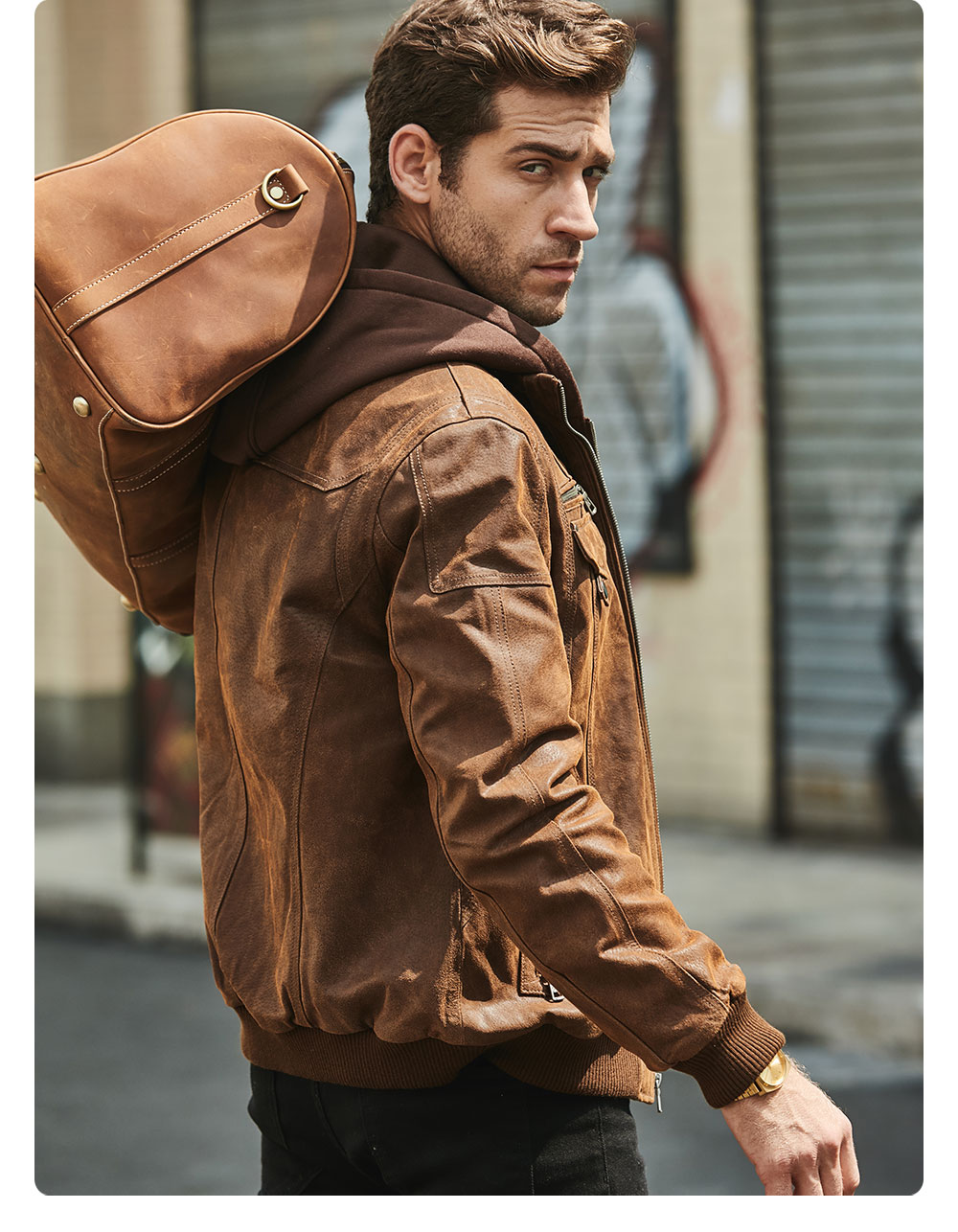 H49a10ce9aa2e45789ea6f9c58cbb8180e FLAVOR New Men's Real Leather Jacket with Removable Hood Brown Jacket Genuine Leather Warm Coat For Men