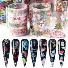 10pcs Christmas Santa Sticker On Nails Clear DIY Nail Art Transfer Foil Snowman Elk Adhesive Tips Gel Polish Accessories BE1036