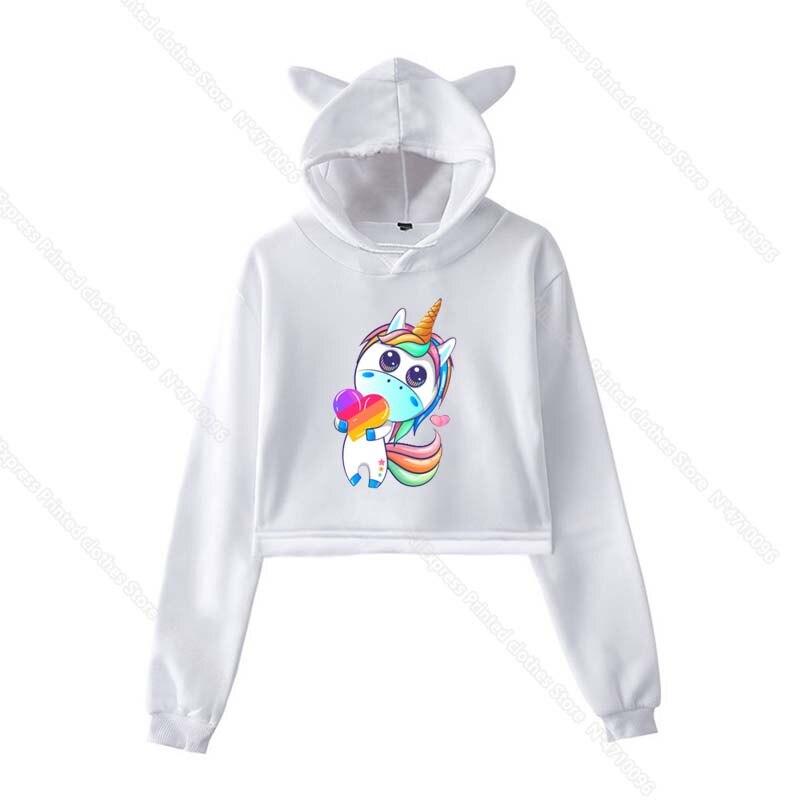 Girls Pink Cat Ear LIKEE Hoodies Cat Crop Top Likee App Hoodie Women Cartoon Unicorn Fox Sweatshirt Female Harajuku Streetwear 34