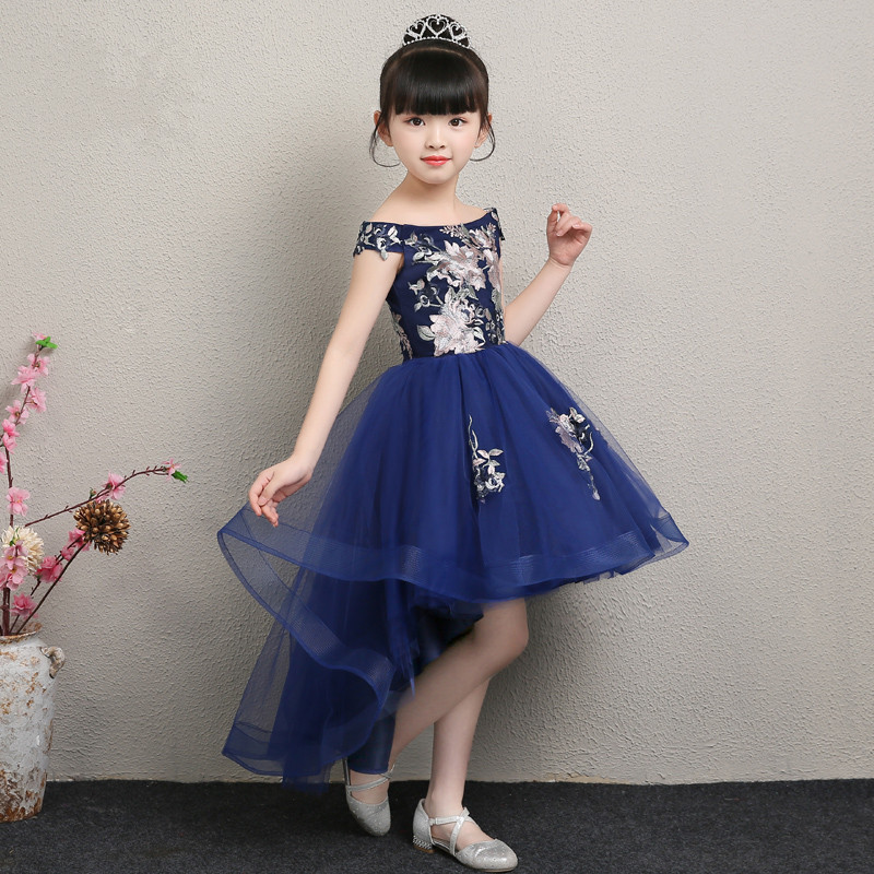 2019 New Style CHILDREN'S Dress Off-the-Shoulder Princess Dress Girls Puffy Yarn CHILDREN'S DAY Model Catwalks Late Formal Dress