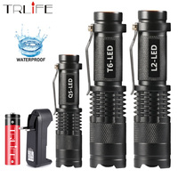 Mini linterna LED de 8000LM, Q5, T6, L2, Enfoque Ajustable, Zoom, lámpara de regalo, batería de 14500 o 18650