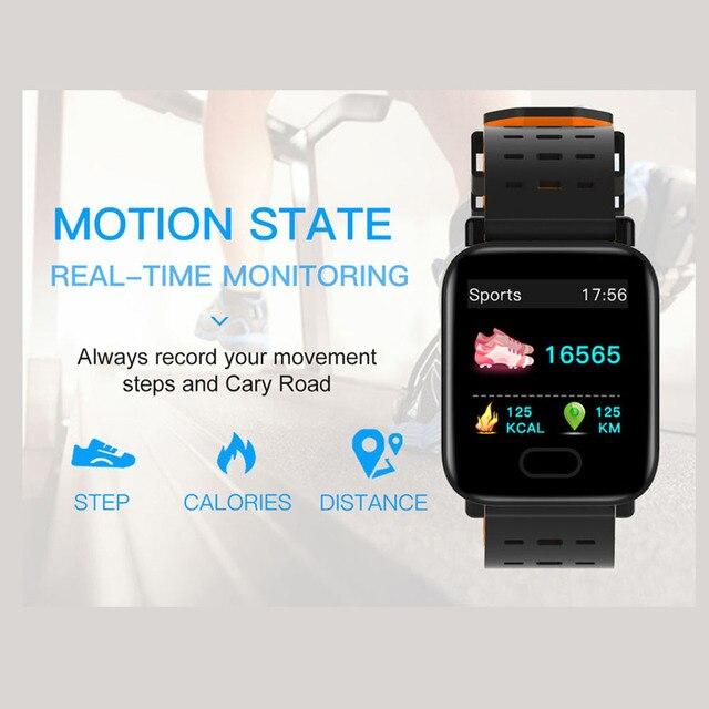 Montre intelligente 2019 hommes android étanche pression artérielle traqueur de fréquence cardiaque sport numérique A6 smartwatch pour ip67