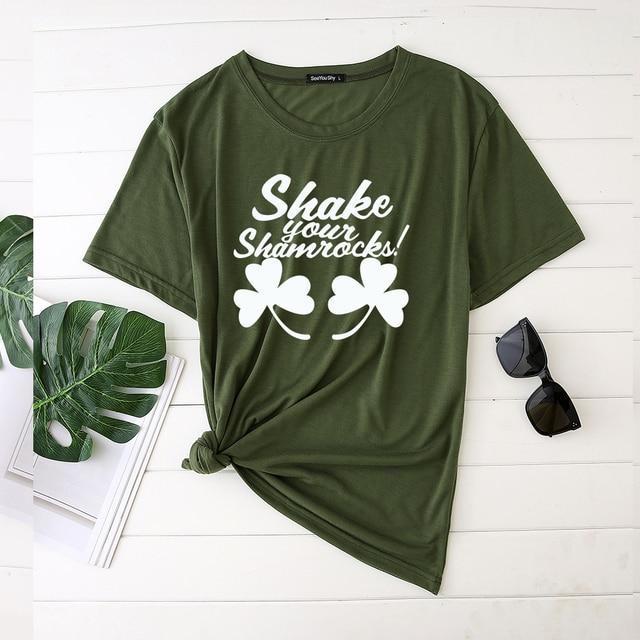 Seeyoushy Shake Your Shamrocks Print Saint Patrick's Day Woman Tshirts Graphic T Shirts Aesthetic O Neck Clothes Camisetas Mujer 1