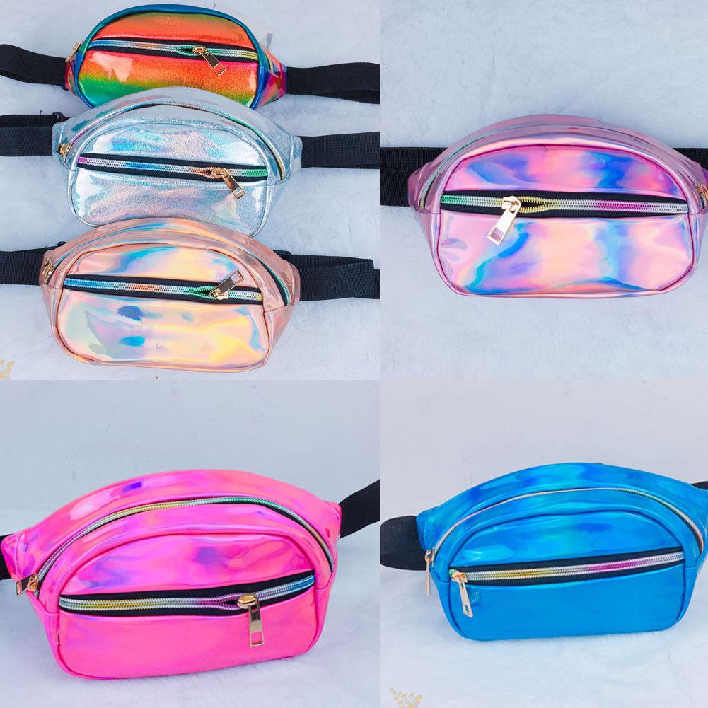 Women's Holographic Laser Waist Fanny Bag Leather Belt Waterproof Bag