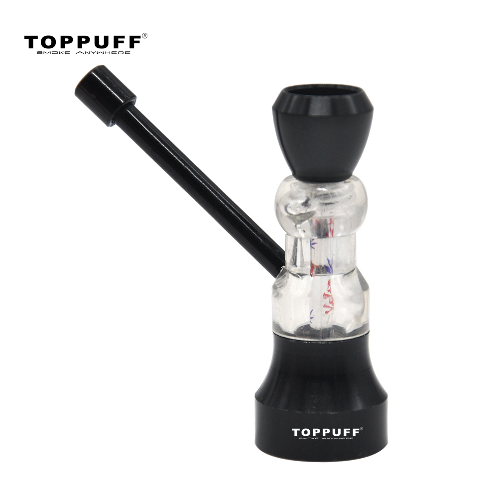 Topuff metal & acrílico tubo de tabaco ampulheta design água tubo de fumo