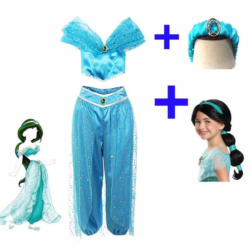Neue Erwachsene Frauen Aladdin Lampe Jasmin Prinzessin Cosplay Kostüme Party Kleid Hosen, Erwachsene Perücken Mädchen Jasmin Prinzessin Kleid Kostüm