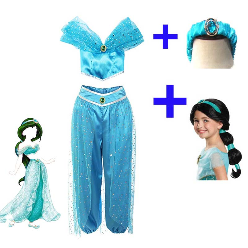 New Adult Women Aladdin Lamp Jasmine Princess Cosplay Costumes Party Dress Pants,Adult Wigs Girls Jasmine Princess Dress Costume