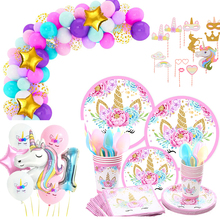Unicorn Birthday Party Decor Disposable Tableware Kit Unicorn Balloon Cups Plates Napkin tattoo Kids Girl Birthday Bachelorette