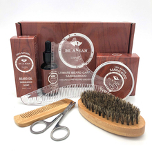 Comb Cream Beard-Care-Set Scissor Hair-Removal Styling-Tool Trimming Lubrication Wooden