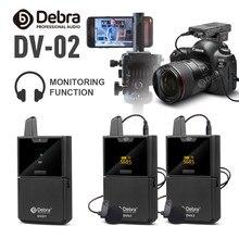 Dv01/02 sem fio microfone de lavalier com função de monitor de áudio uhf sem fio lapela mic para smartphones câmeras dslr webcast