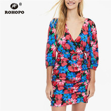 цена ROHOPO Red Iris Floral Draped Autumn Chic Dress Three Quarter Sleeve Belted Ladies Elegant Party Dress #9315