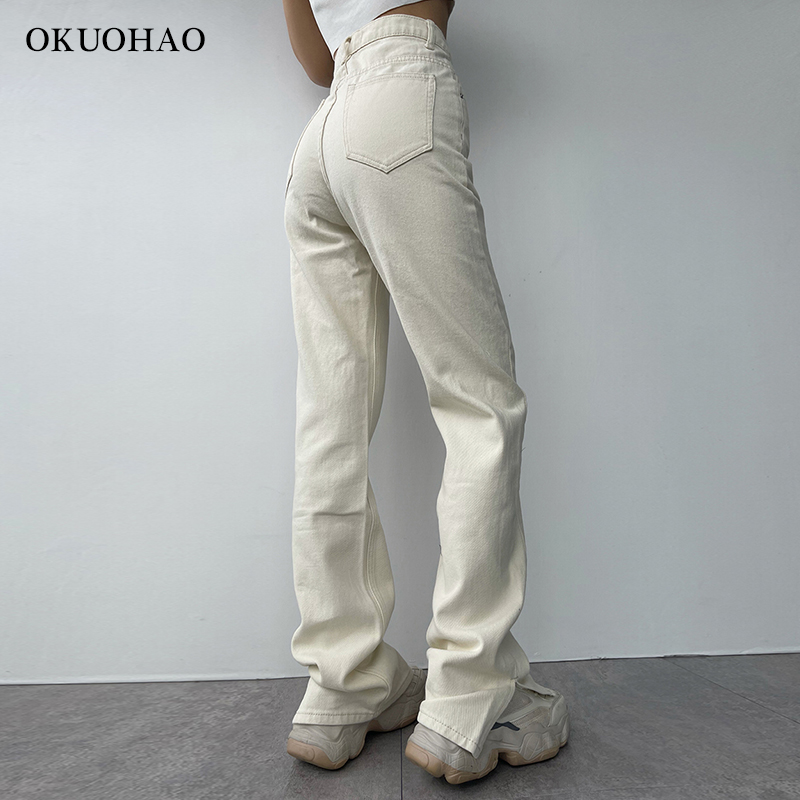 2021 Flared Jeans Women High Waist Mom Jeans Denim Trousers Female Streetwear White Vintage Clothes Boot Cut Wide Oversize Pants 2