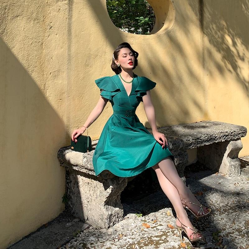 Le Palais Vintage 2019 Original Elegant Emerald Green V-neck Flare Dresses Satins Knee-Length Fall Winter Women Party Dress