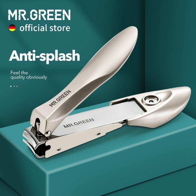 Mr. verde cortador de unha clippers aço inoxidável anti respingo unhas ferramentas manicure biônica design aparador de unhas pedicure tesoura