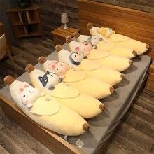 Bonito dos desenhos animados animais banana brinquedo de pelúcia fruta macia plushie gato coelho shiba inu travesseiro super macio crianças brinquedo do bebê boneca presente de aniversário