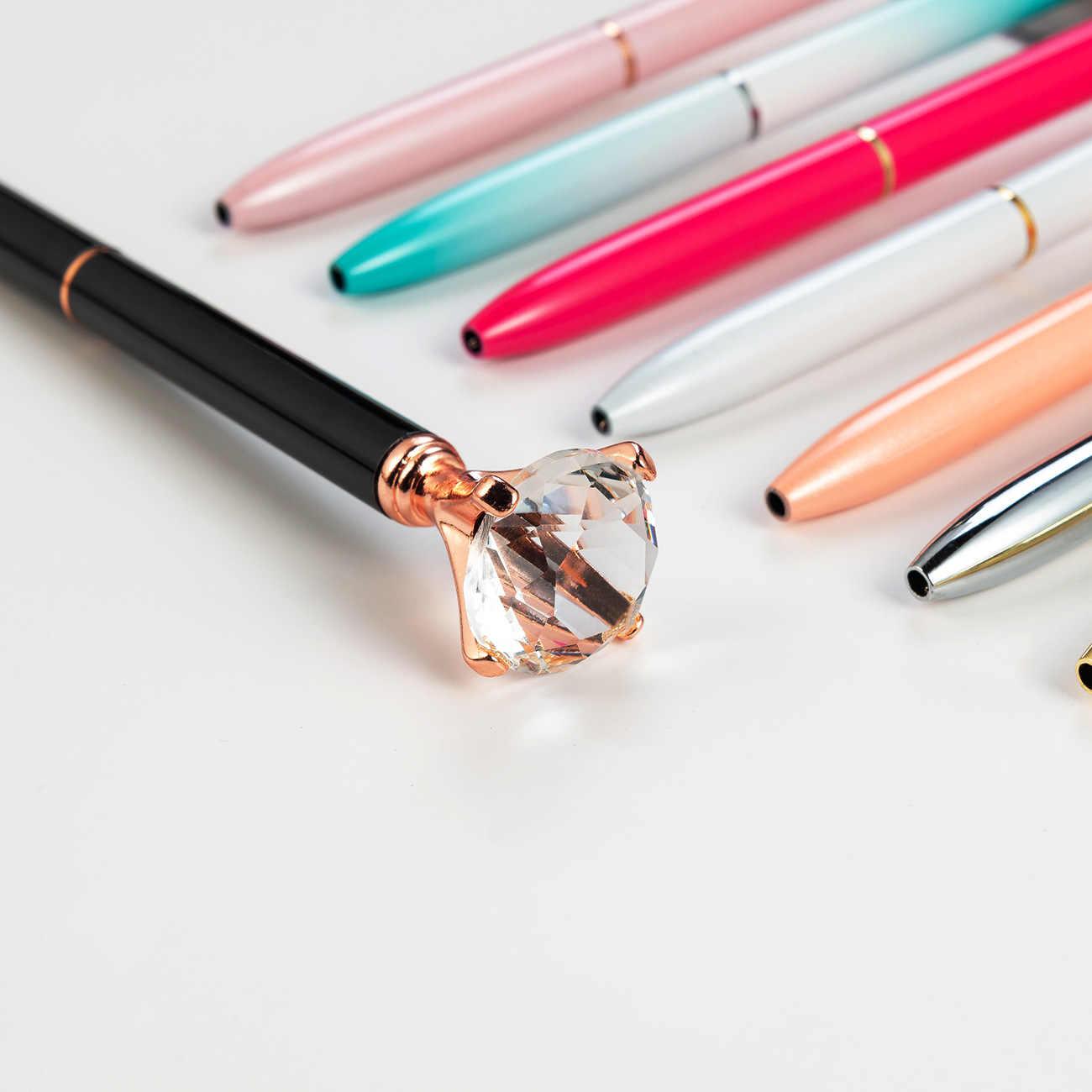 Big Carat Diamond kryształowy kamień długopis biuro ślubne metalowe pióra kulkowe szkoła papiernicze Logo na zamówienie prezent