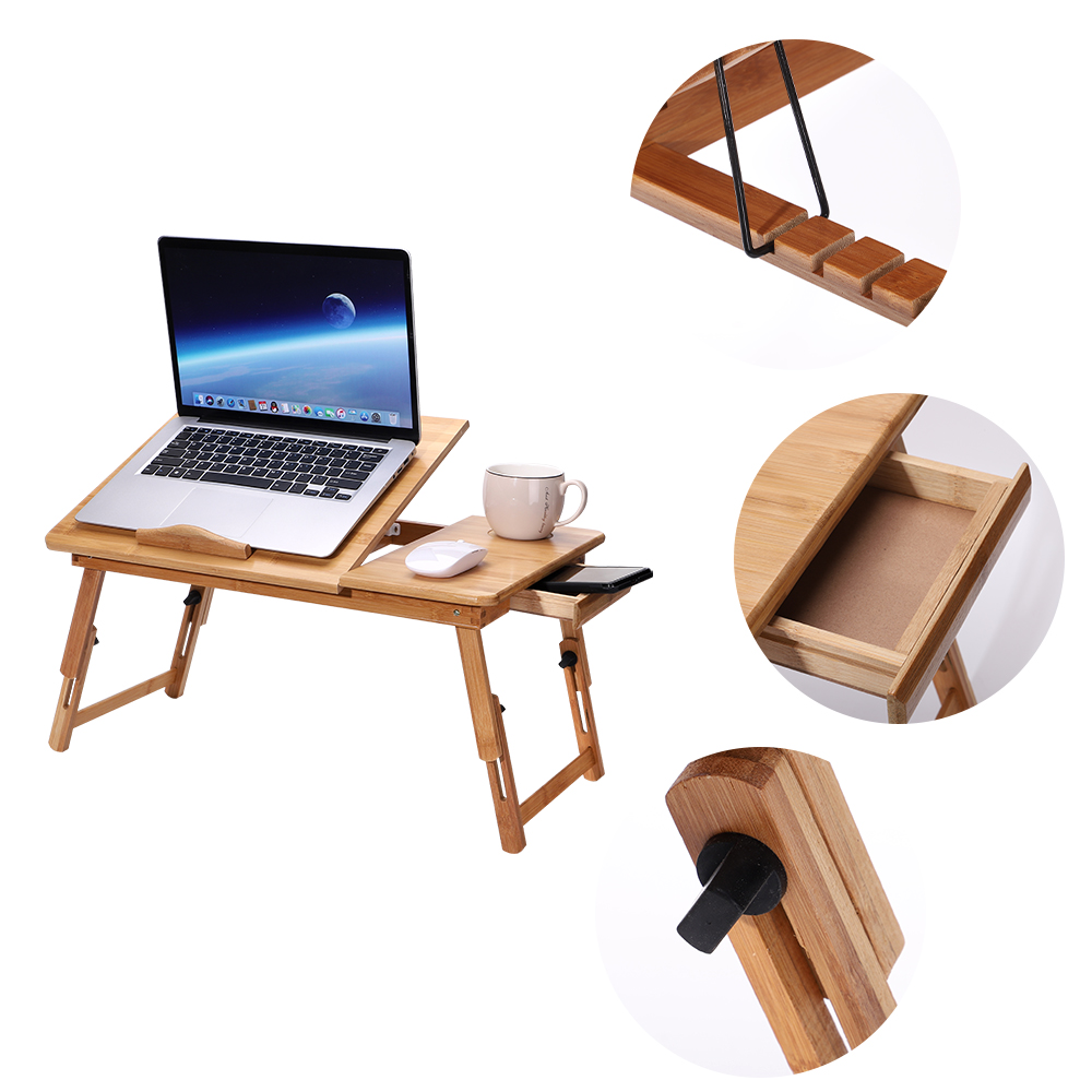 Laptop Table Large Bed Tray Adjustable Tilting Top Foldable Table Multi-tasking Stand Breakfast Serving Bamboo Supports Up