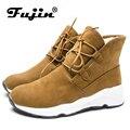 Fujin/женские ботинки; Зимние Теплые ботильоны; ботинки на шнуровке; меховая плюшевая обувь; удобные зимние женские ботинки