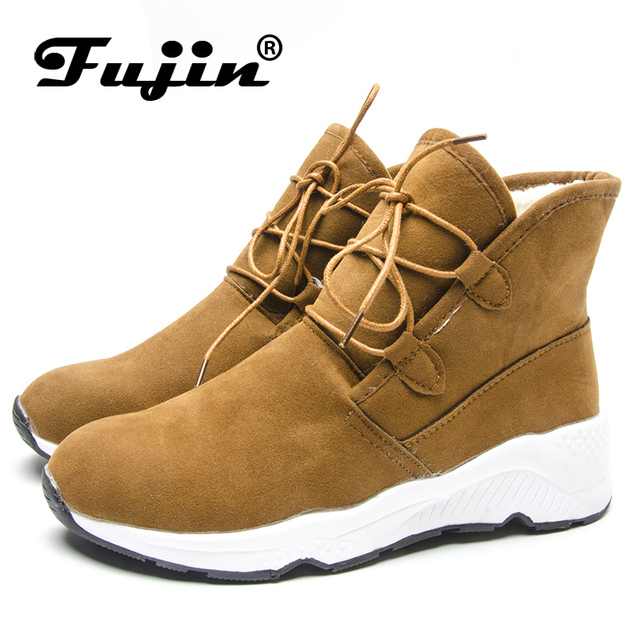 Fujin Women Boots Winter Warm Ankle Boots Lace Up Booties Fur Plush Shoes Comfortable Winter for Women Snow Boots